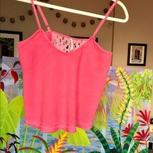 Bright Coral Linen Blend Free People Tank